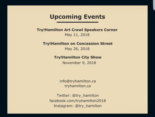 Try Hamilton event listing 2018